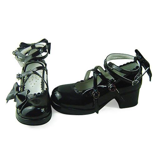 Black Glitter Bow Lolita Shoes