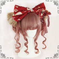 Red Brown Face Framing Ponytail Bun Lolita Wig