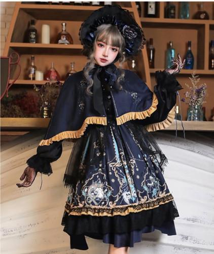 God Redeemed Gothic Dark Printed Lolita OP(Choker + Gloves + Overskirt)