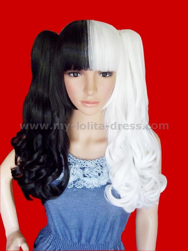 Black White Gothic Curly Lolita Wig