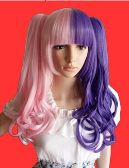 Light Pink Ash Purple Curls Lolita Wig with Ponytails-Special Price