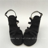 Black Velvet Lolita Wedge Heels Sandals