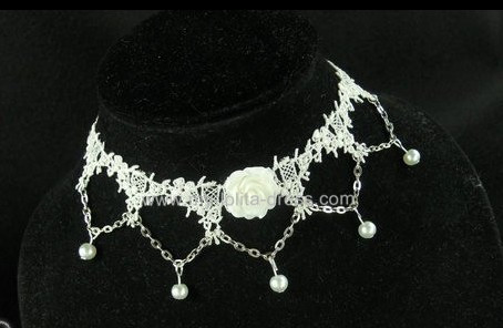 Adorable White Rose Beads Lolita Necklace