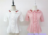 A Small Strawberry~Embroidered Short Sleeves Lolita Blouse -Ready made