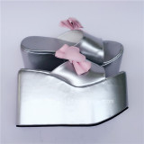 Gold Side Bow Slippery High Platform Lolita Sandals