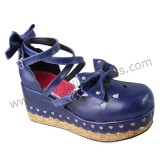 Dark Blue Bows Lolita Shoes -IN STOCK