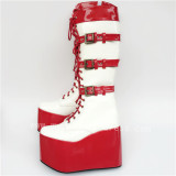 High Platform Red White Lace-up Knee Lolita Boots