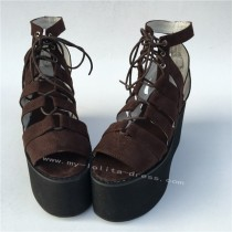 Gothic Velvet Coffee Lace Up Lolita Girls' Shoes
