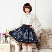 Sweet Blue Sun & Moon Magic Array Printed Lolita Pleated Skirt