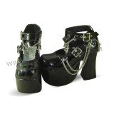 Black Shiny High Platform Punk Lolita Shoes