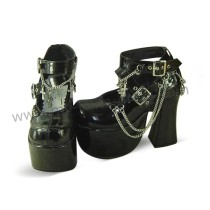 Black Shiny High Platform Punk Lolita Shoes