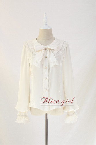 Mola Fan Collar Lace Lolita Blouse -Ready Made Pale Purple & White Size L - In Stock
