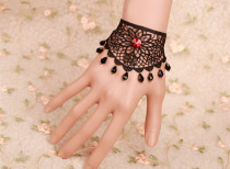 Fabulous Black Lace Floral Lolita Bracelet with Ruby