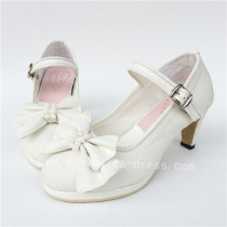 Elegant White Bow Pearls Lolita Heels Shoes