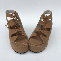 High Platform Beige Lolita Sandals with Shoelace