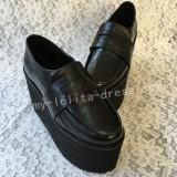 Black  Gothic High Heels Wedges Lolita Girls Shoes