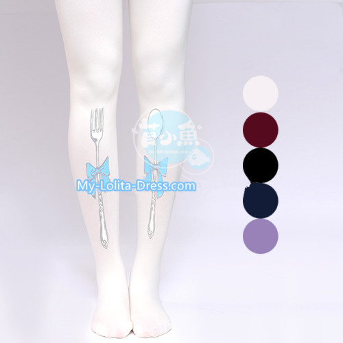 Mu Fish Knife and Forks Lolita Tights