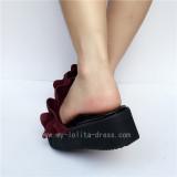 Popular Wine Velvet Lolita Sandals for Girls