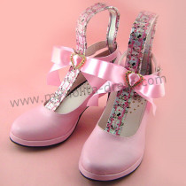 High Heel Sweet Pink Bow Lolita Shoes