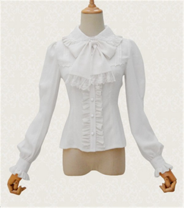 Vintage Peter Pan Collar Long Sleeve Lolita Blouse White Size L Chiffon with Velvet Thick Version - In Stock