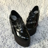 Glossy Black Lolita Square Heels High Platform