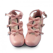 Sweet Pink Lolita Heels Shoes with Bows