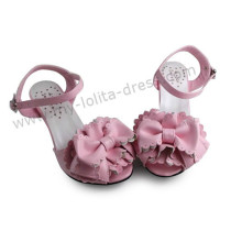 Matte Pink Flower Bow Girls Sweet Sandals