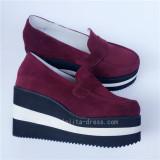 Wine Velvet Double Colors Soles Lolita Shoes