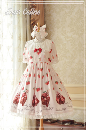 Dear Celine ~ Strawberry Ice Cream~ Sailor Collar Lolita OP -Ready Made