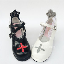 Unique Cross & Straps Lolita Square Heels Shoes