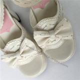 Sweet Matte White Lolita  Heel Shoes with bows