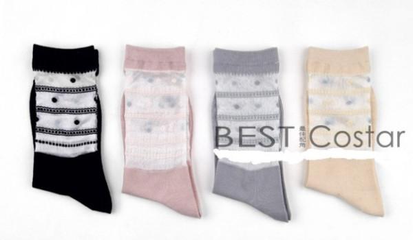 Black White Circle Printed Cotton Socks