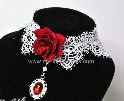 Romance White Lace Wine Rose Lolita Necklace