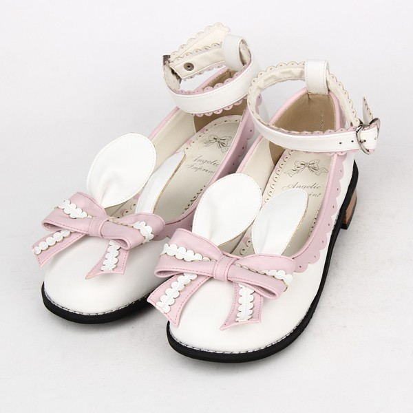 Angelic Imprint- Sweet Bow Bunny Ears Lolita Flat Shoes