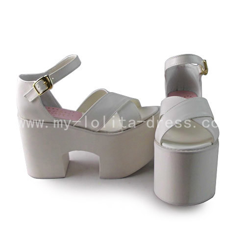 High Platform White Sweet Lolita Sandals