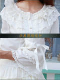 Sweet Chiffon Flare Sleeves Lolita Blouse White Size S - In Stock
