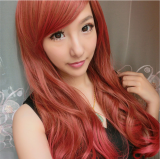 Sweet Chocolate Red Long Curls Lolita Wig