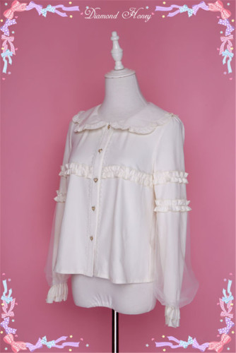 Sweet Peter Pan Collar Long Sleeves Lolita Blouse White M In Stock
