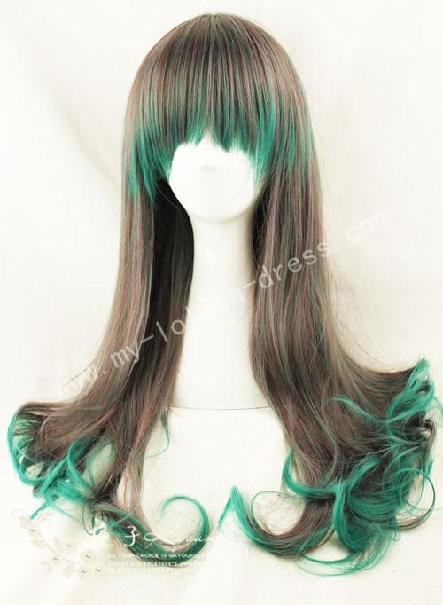 65cm Purple Green Curls Lolita Wig
