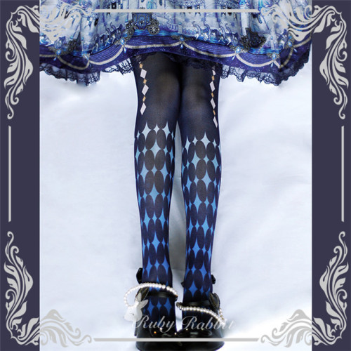 Alice~ Lolita Printed Tights -Ready Made