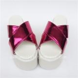 Matte Pink Crossed Belts Lolita Sandals Platform Shoes