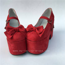 Sweet Red Matte Lolita High Heels Shoes with Bows