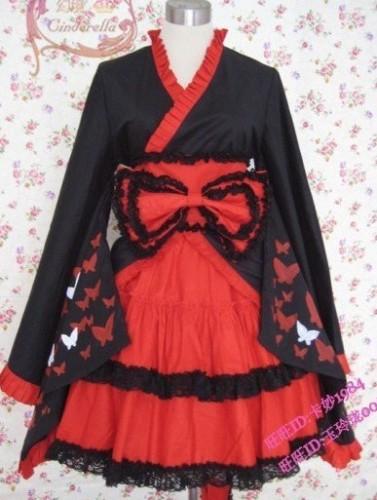 Red Black Bows Wa Lolita Dress