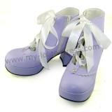 Purple Platform Lolita Shoes White Bow  -Clearance