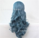 Unique Smoky Blue Anime Cosplay Long Curls Wig