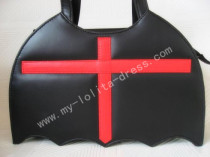 Bat Shape Black Lolita HandBag Black with Red Cross - In Stock