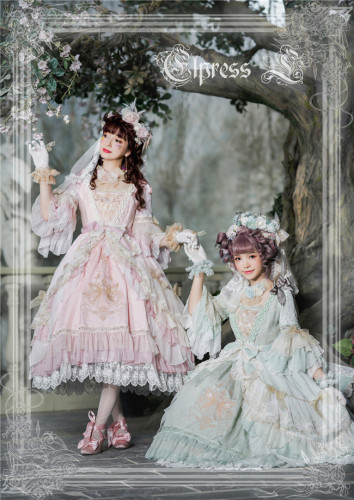 Elpress L ~The Fairy Kingdom Embroidery Lolita OP + Headdress Set -Ready Made