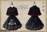 The Fox with Nine Tails- Embroidery Qi Lolita OP and Cape -Ready Made