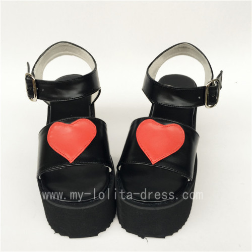 Sweet High Platform Black with Red Hearts Lolita Sandals