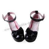 Glossy Black Princess Shoes White Trim